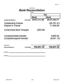 Photographs bank reconciliation